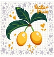 Fresh yellow plums with leaves vector