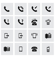 Black telephone icon set vector