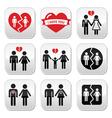 Couple breakup divorce buttons set vector