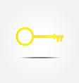 Gold key symbol icon vector