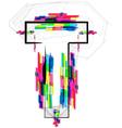 Colorful font letter t vector
