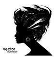 Woman hair style silhouette vector