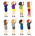 Eight girls writing on the wall vector