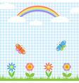Flowers butterflies and rainbow vector