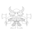 Dwarf warrior contour vector