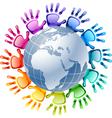 Hands around globe vector