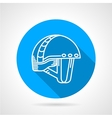 Round blue icon for sport helmet vector