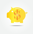 Gold piggy bank vector