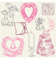 Vintage wedding elements vector