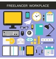 Freelancer workplace icons set vector