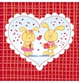 Bright background with hearts and bunnies vector