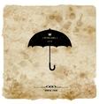 Vintage postcard retro umbrella on grunge vector