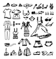 Fashion icons sketch on white background vector