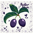 Fresh plums with leaves vector