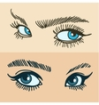 Blue womens eyes vector