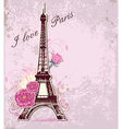 Roses and eiffel tower vector