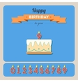 Happy birthday card with cake and candle number vector