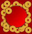 Gold coins background for chinese new year card vector