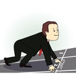 Young businessman standing in start position vector