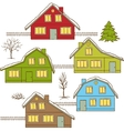 Hand drawing winter houses isolated vector