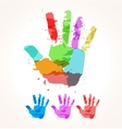 Hand of paint stains vector