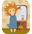 Girl mirror combs hair vector