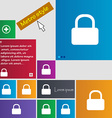Pad lock icon sign metro style buttons modern vector
