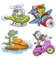 Funny vehicle and animal vector
