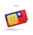 Taiwan mobile phone sim card with flag vector