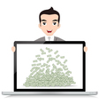 Businessman with laptop vector