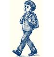 Boy goes to school vector