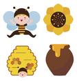 Bee baby and honey vector