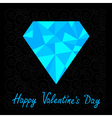 Blue polygonal diamond happy valentines day card vector
