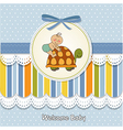 Funny baby boy announcement card vector