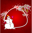 Red christmas background with snowman vector