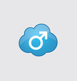 Blue cloud male symbol icon vector