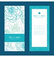 Blue line art flowers vertical frame vector