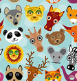 Seamless pattern with funny cute animal face on a vector