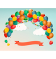 Retro holiday background with colorful balloons vector