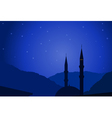 Dark blue arabic night with mosque silhouette vector