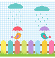 Background with birds under umbrellas vector