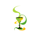Cocktail glass green and yellow vector