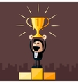 Businessman stands on pedestal holds cup vector