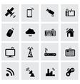 Black wireless icon set vector