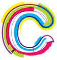 Colorful grunge font letter c vector