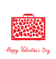 Red suitcase with hearts happy valentines day card vector