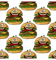 Cartoon hamburger seamless pattern vector