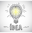 Human brain in lightbulb sketch vector