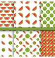 Bright set of seamless patterns with watermelons - vector
