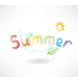 Summer by letters grunge icon vector